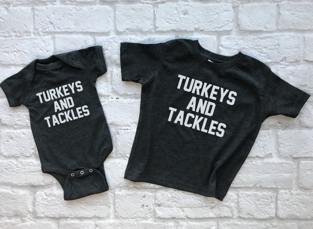 Turkeys and Tackles Kids Thanksgiving Shirt - Hot Mess Mom Designs