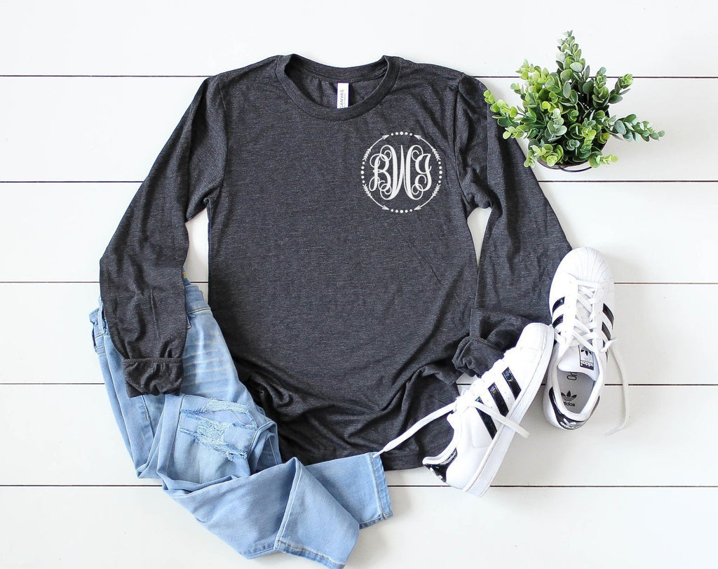 Small Monogram long sleeve - Hot Mess Mom Designs