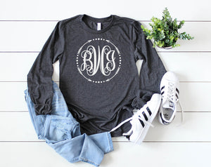 Custom Monogram long sleeve - Hot Mess Mom Designs