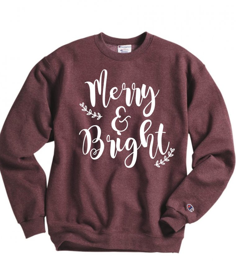 Merry and Bright- christmas sweatshirt - Hot Mess Mom Designs