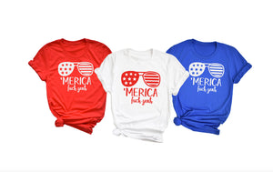 MERICA fuck yeah Fourth of july Shirt - Hot Mess Mom Designs