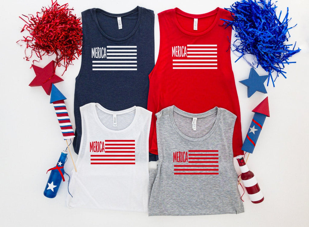 Merica fourth of july tank top - funny shirts for women at Hot Mess Mom Designs