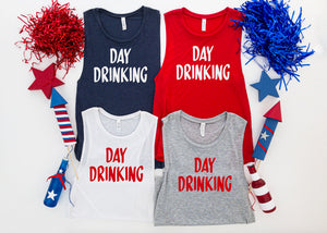 Day Drinking fourth of july tank top. - Hot Mess Mom Designs