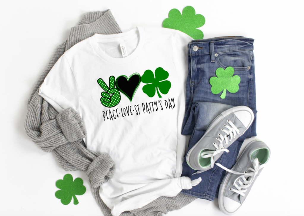 Peace Love St Pattys Day - Hot Mess Mom Designs