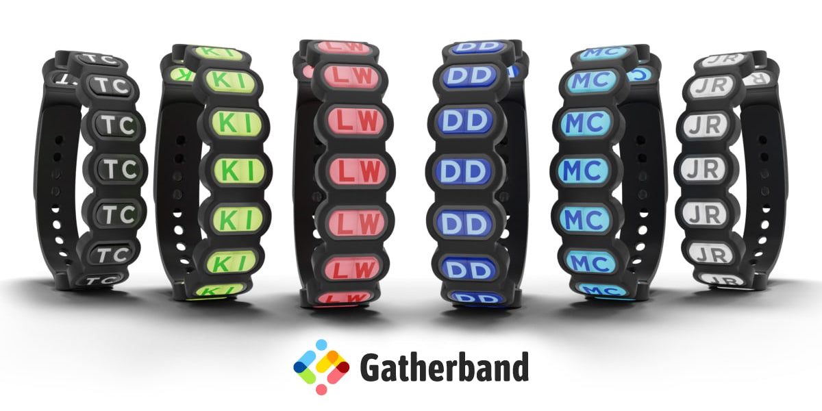 gatherband friendship bracelet lineup with all six colors black, chameleon, salmon, sea blue, sky blue and white