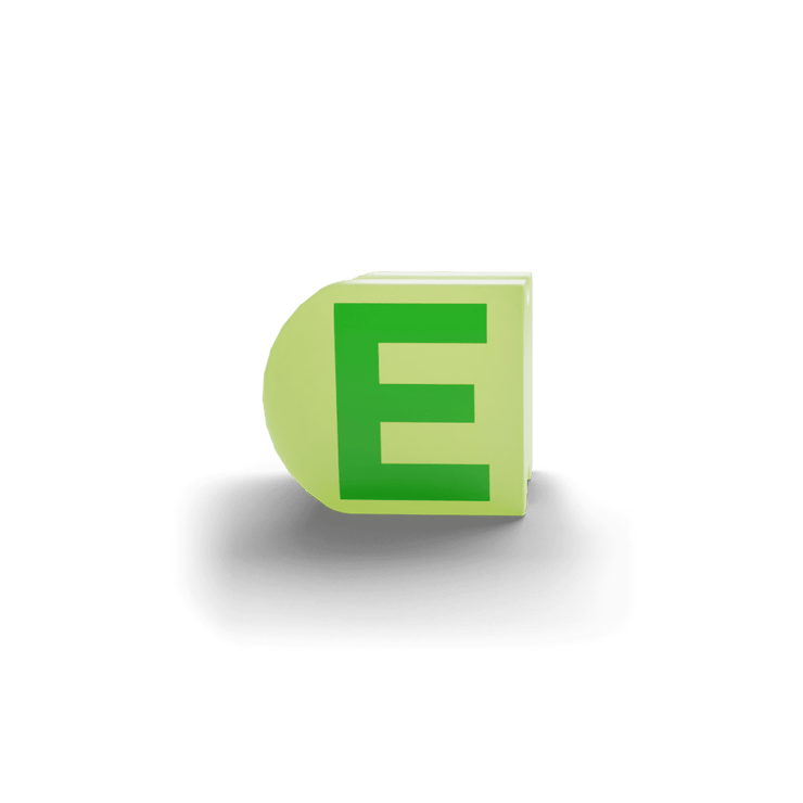 gatherband extra initials chameleon green letter e