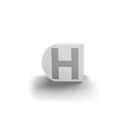 gatherband extra initials white letter h