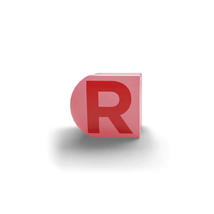 gatherband extra initials salmon red letter r