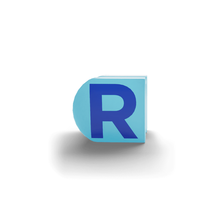 gatherband extra initials light sky blue letter r