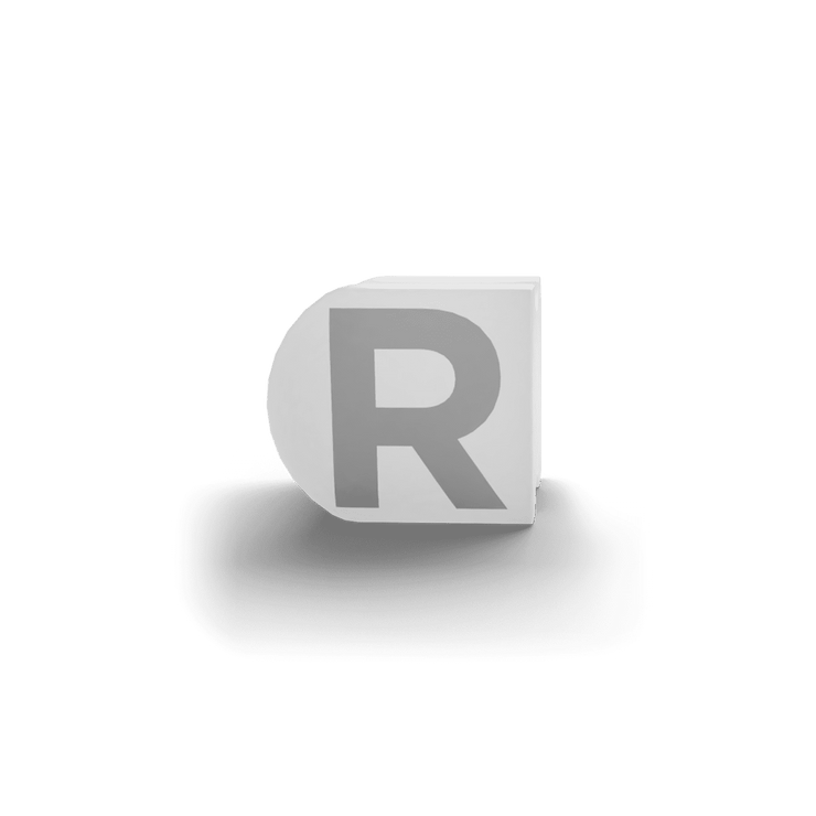 gatherband extra initials white letter r