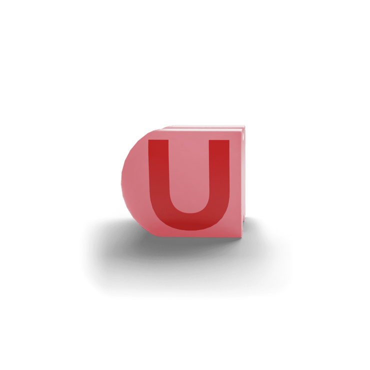 gatherband extra initials salmon red letter u