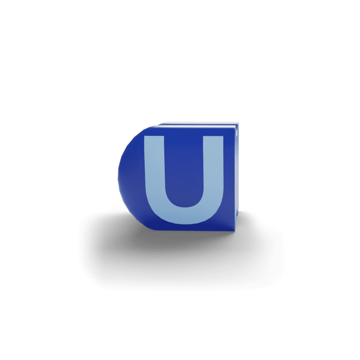 gatherband extra initials dark sea blue letter u