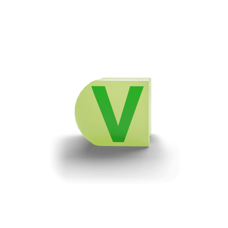 gatherband extra initials chameleon light green letter v