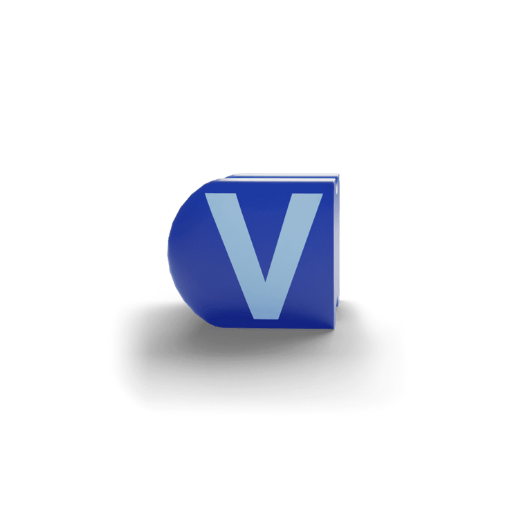 gatherband extra initials sea dark blue letter v