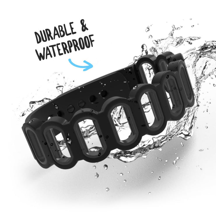 closeup of an empty gatherband friendship bracelet splashing through water and a headline showcasing the durable, waterproof premium silicone material
