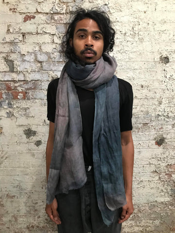 LINEN LARGE STOLE || OVERDYED GREEN