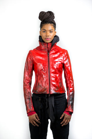 MINIMALIST LEATHER JACKET / HAND PAINTED INFERNO RED
