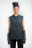 "OVERSIZED SLEEVELESS ""CLAIS"" SHIRT / BLACK"