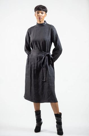 LONG SLEEVE 'KIA' DRESS - LINEN + VISCOSE  |  BLACK