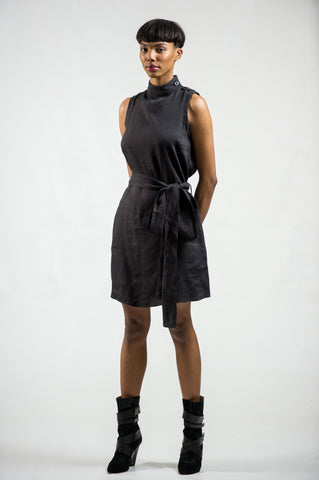 SLEEVELESS 'KIA' DRESS - LINEN + VISCOSE | BLACK