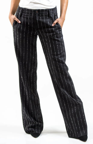 WIDE LEG 'KERKYLOS' PANTS - WOOL / BLACK PINSTRIPE