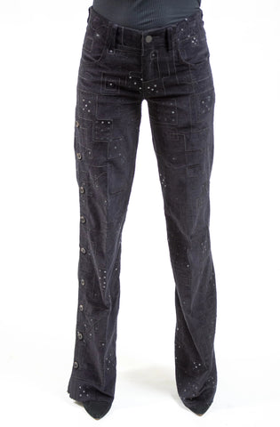 "WIDE LEG ""SAPPHO""  JEANS - EMBROIDERED CORDUROY / BLACK"