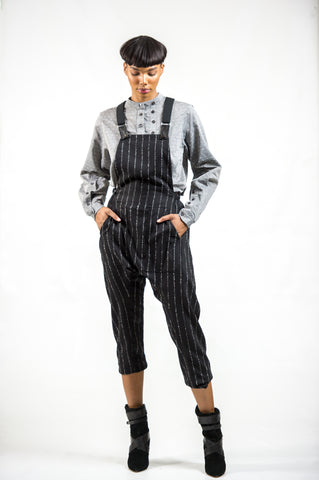 ASYMMETRIC CROPPED 'CLAIS' COVERALL - WOOL/ BLACK PINSTRIPE