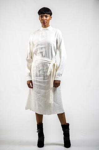 LONG SLEEVE 'KIA' DRESS - LINEN + VISCOSE | IVORY