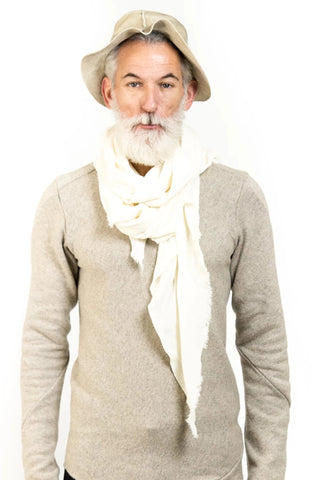 BIAS CUT BOILED WOOL SCARF || OFF-WHITE