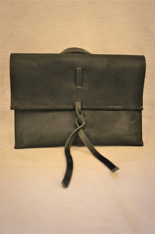SLIM PROFILE LAPTOP CASE/ ORGANIZER - BLACK REVERSE COWHIDE