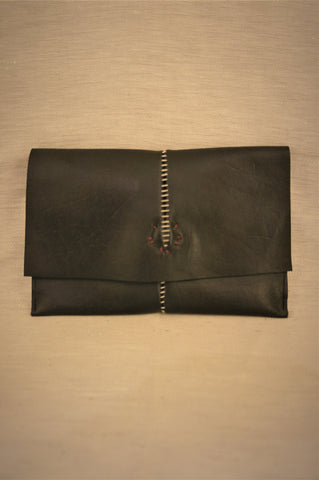 OVERLOCKED CLUTCH WALLET - BLACK HORSEHIDE