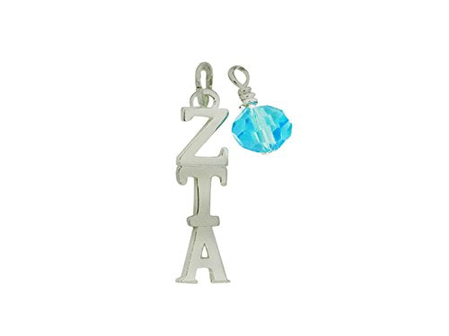 Zeta Tau Alpha Lavalier with Swarovski Crystal Pendants Silver Plated