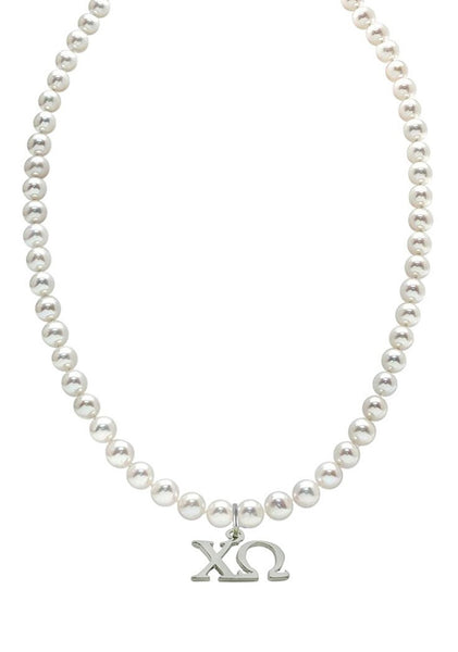 Chi Omega Pearl Necklace Chi O Greek Sorority Pearl Necklace