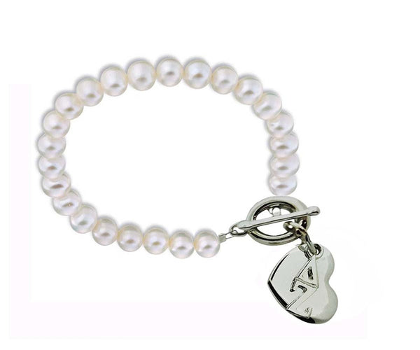 Delta Zeta Sorority Pearl Bracelet with Heart on Toggle Clasp