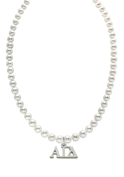 Alpha Gamma Delta Pearl Necklace Greek Sorority Pearl Necklace