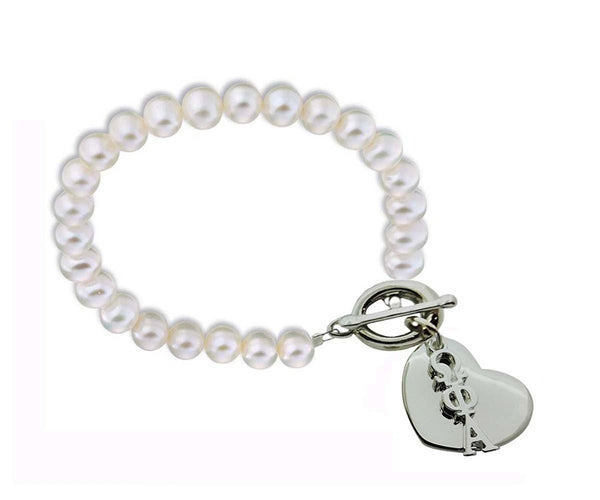 Omega Phi Alpha Sorority Pearl Bracelet with Heart on Toggle Clasp