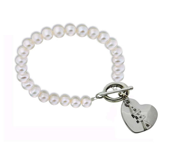 Alpha Xi Delta Sorority Pearl Bracelet with Heart on Toggle Clasp