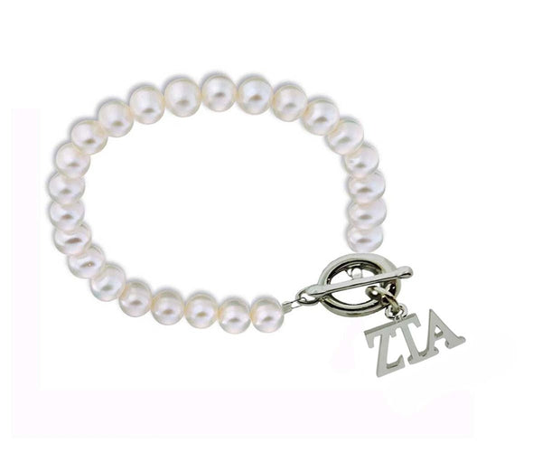 Zeta Tau Alpha Sorority Pearl Bracelet with Toggle Clasp