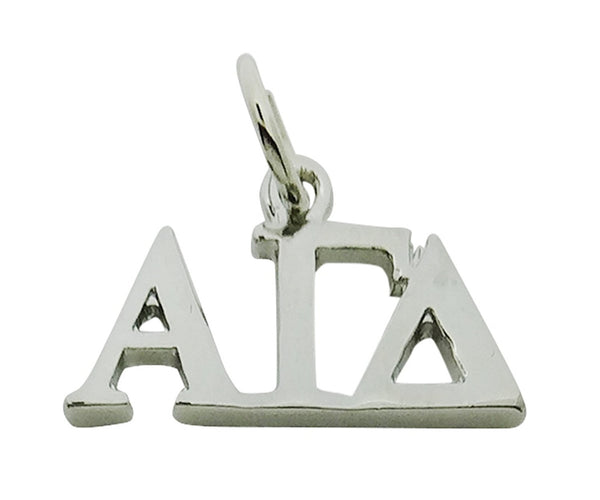 Horizontal Alpha Gamma Delta Greek Sorority Lavalier Drop Charm Pendant, High Polish Finished