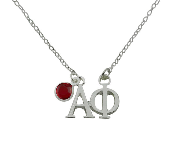 Alpha Phi Floating Sorority Lavalier Necklace with Gemstone