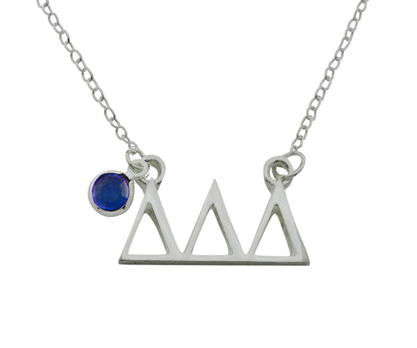Tri Delta Delta Delta Floating Sorority Lavalier Necklace with Gemstone