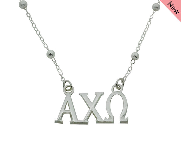 Alpha Chi Omega Beaded Floating Necklace Sorority Jewelry Necklace