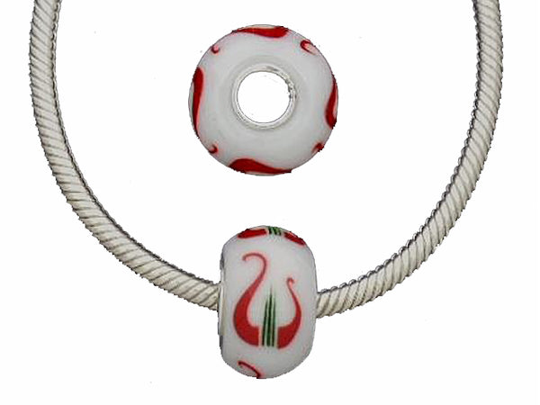 Alpha Chi Omega Glass Lampwork Lyre Sorority Bead Fit European Style Charm Bracelet Big Hole Bead