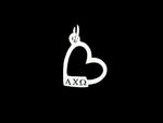 Alpha Chi Omega Open Heart Greek Sorority Lavalier Charm Pendant Necklace