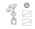 Alpha Chi Omega Sorority Lavalier Necklace with Pearl - DKGifts.com