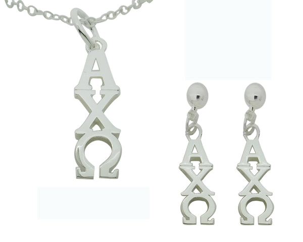 Alpha Chi Omega Matching Greek Sorority Lavalier Necklace and Earring Set