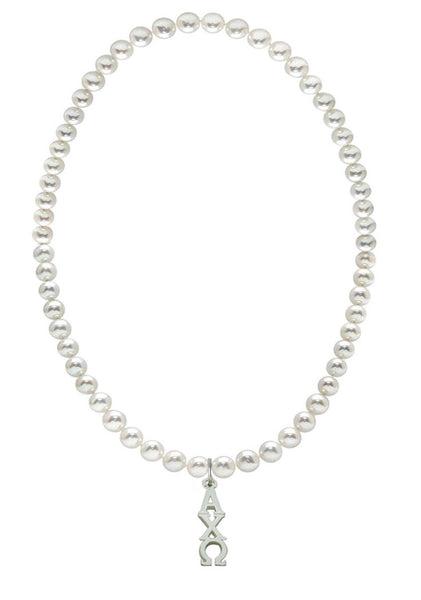 Alpha Chi Omega Stretch Pearl Sorority Necklace Greek Sorority Pearl Necklace