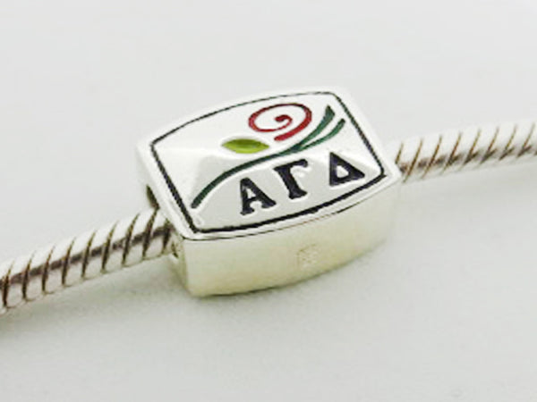 Alpha Gamma Delta Enamel Logo Letter Greek Sorority Bead European Big Hole Bead