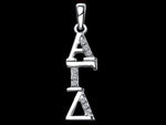 Alpha Gamma Delta Synthetic Diamond Sorority Lavalier Necklace Sterling Silver - DKGifts.com