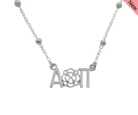 Alpha Omicron Pi Flower Beaded Floating Necklace Sorority Jewelry Necklace